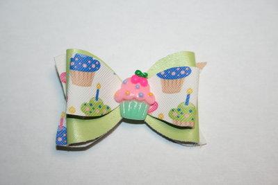 Leren haarstrik  limegroen/print cupcake