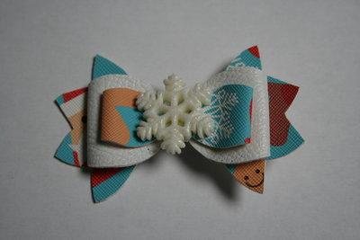 Leren haarstrik wit/print kerst sneeuwvlok