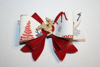 Leren haarstrik rood/print rendier kerst Rendier