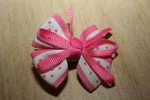 Clip met Strik roze/wit